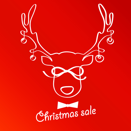 labeled: The horns of a deer labeled Christmas Sale. Red background. Illustration