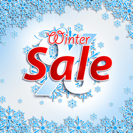 withe: Winter Sale. Christmas balls on withe background