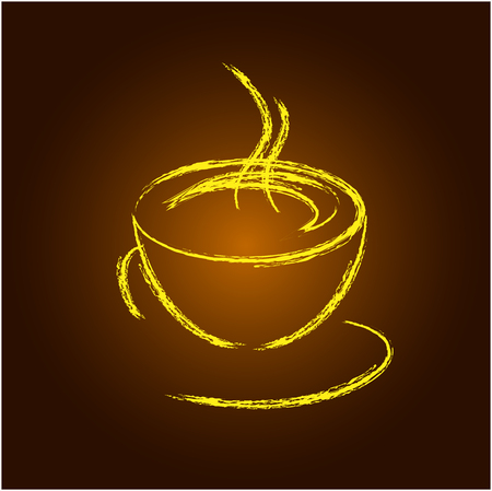 yellow vector: Coffee cup yellow vector icon
