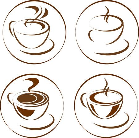 Coffee cup different vector icons Ilustração