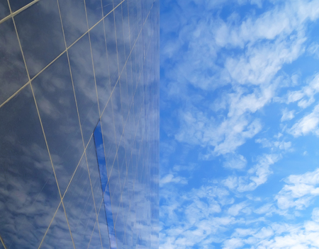 commercial real estate: blue texture of light glass buildings