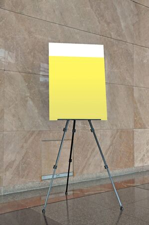 x stand: Blank banner display in the building