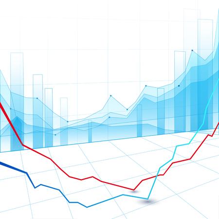 株式市場のグラフと棒グラフ