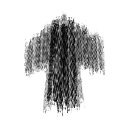skidding: Arrow tire marks on a white background Illustration