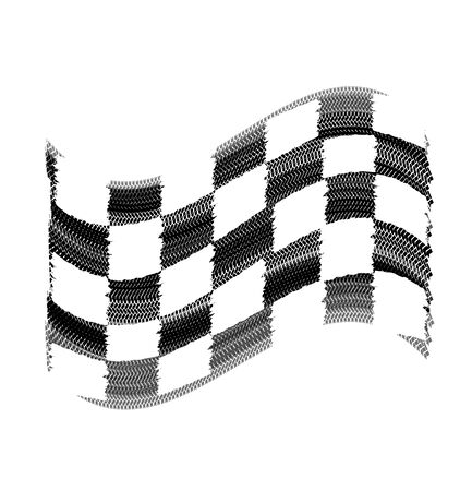skidding: Flag tire marks on a white background