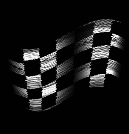 Flag tire marks on a black background