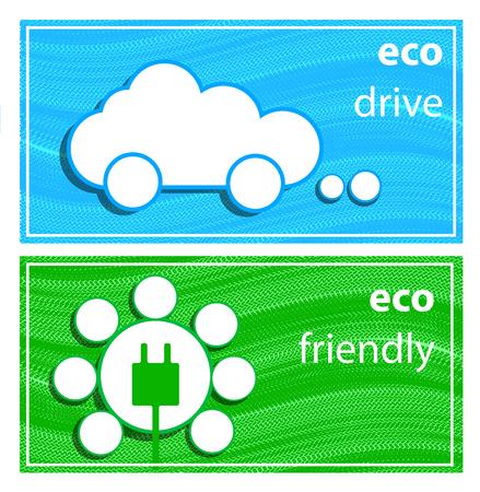 eco friendly icon: Banners eco drive. eco friendly icon.