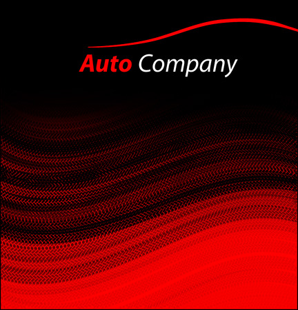 Modern auto company logo design concept with sports saloon car silhouette on red background.