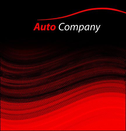 Moderna empresa de automóviles concepto de diseño del logotipo con la berlina deportiva silueta del coche en el fondo rojo.