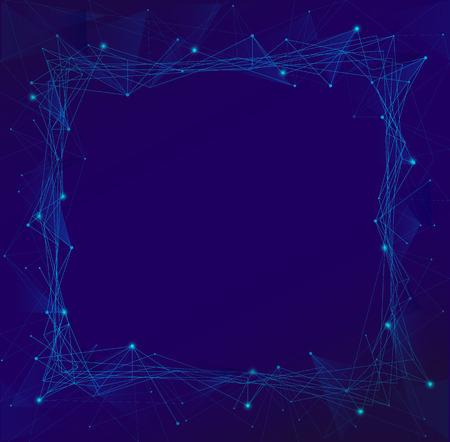 devotion: polygonal blue frame vector isolated
