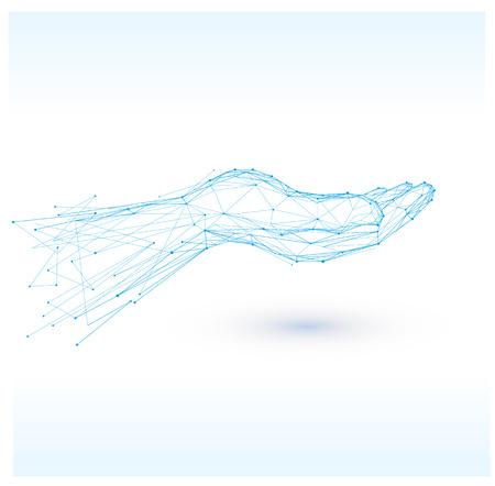 Hand sign icon.Polygonal blue hands vector isolated. Illusztráció
