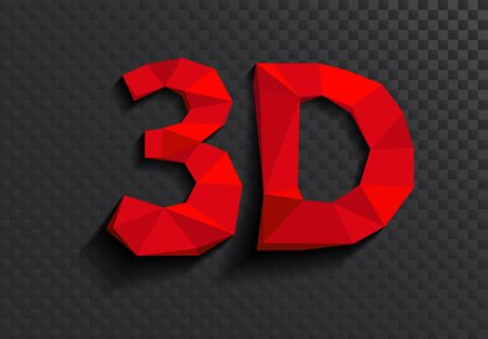 three dimensions: illustration of 3D word written in red color