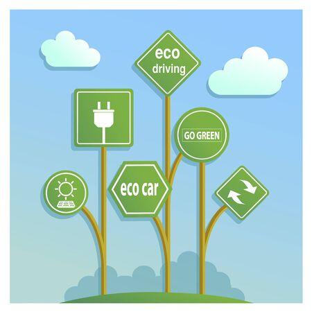 eco friendly icon: Road signs eco drive. Green eco friendly icon. Illustration