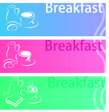 corn flakes: Breakfast banner flat set with coffee