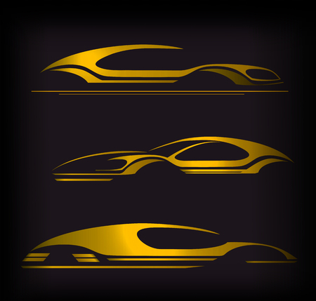 Auto Company Logo  Design Concept with Sports Car