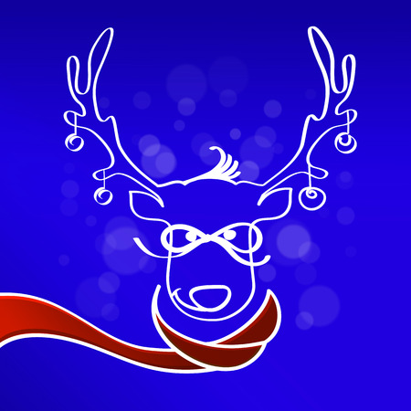 red scarf: Deer in the red scarf .Blue background.