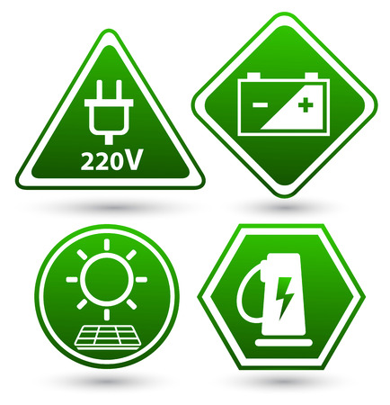 eco friendly icon: Road signs eco drive. Green eco friendly icon. Stock Photo