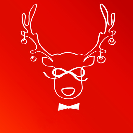 labeled: The horns of a deer labeled Christmas Sale. Red background. Stock Photo