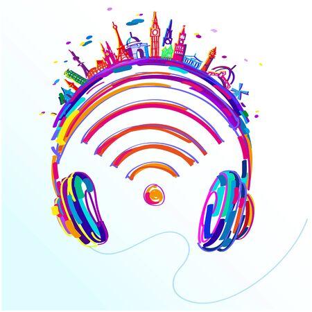 headphones assorted colors, easy editable