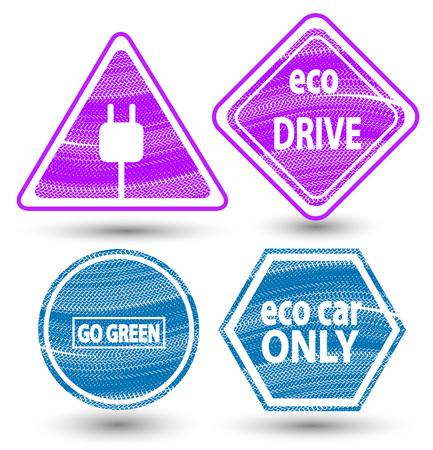 eco friendly icon: Road signs eco drive. eco friendly icon. Stock Photo