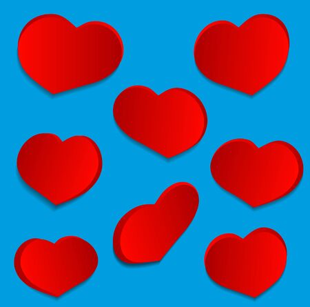 fillings: Set love hearts on Blue background