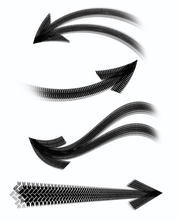Arrows tire marks on a white background Stock Photo
