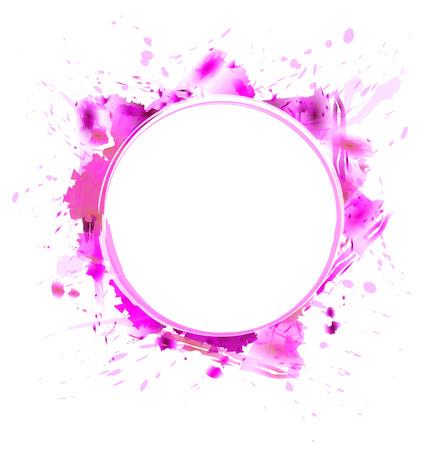 magenta: Watercolor circle magenta frame. Colorful frame. Stock Photo