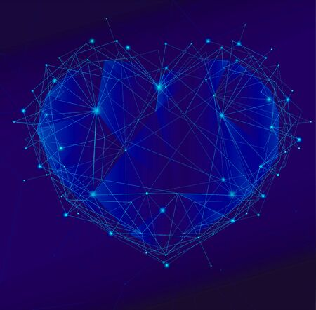 heart intelligence: polygonal blue heart  isolated