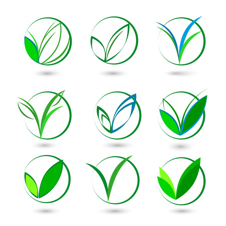 quality check: V letter or check mark, verification Eco logo, design template elements