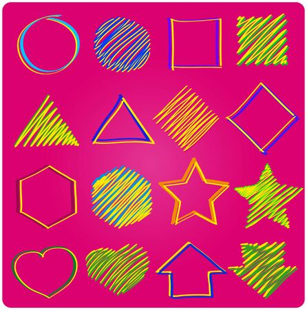 hape: Set of icons, geometric on pink backgrouind