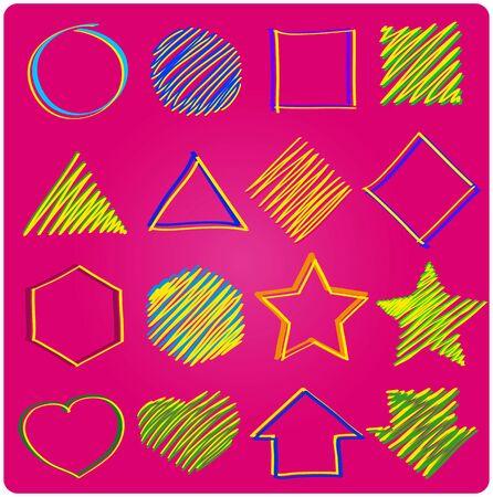 hape: Set of icons, geometric on pink backgrouind