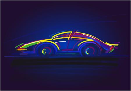 speeding: Speeding Racing Car on blue background