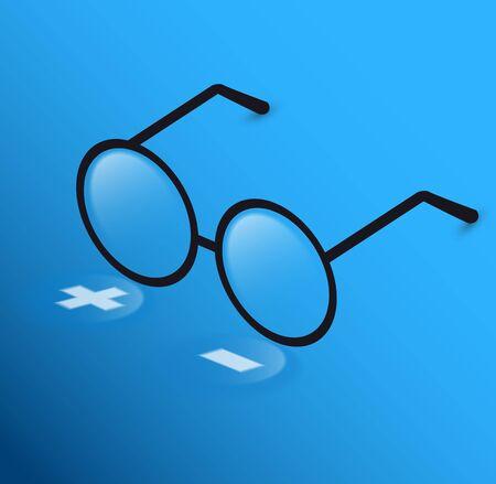 round glasses: Round Glasses Icon Symbol plus, minus