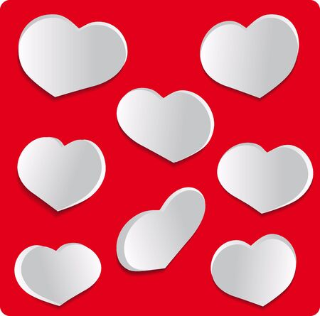 fillings: Set love hearts on red background Stock Photo
