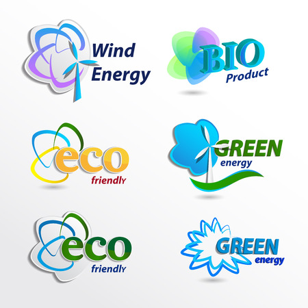 controlling: Set  Eco, design template elements, wind energy, bio product, eco friendly Stock Photo