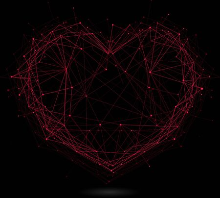 heart intelligence: polygonal red heart isolated