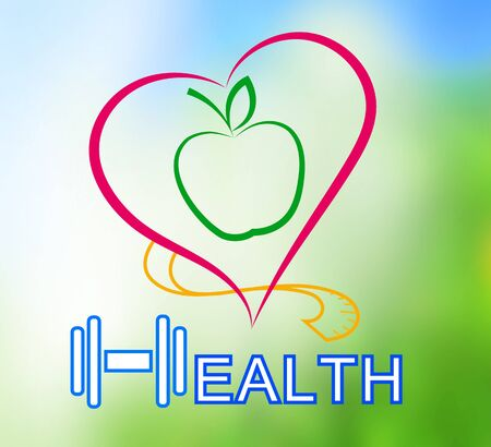 angina: Wellness symbol. Healthy food and fitness leads to healthy heart and life. Stock Photo