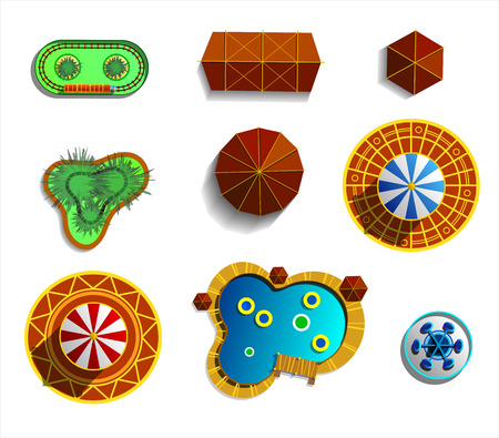 steam roller: Theme amusement park sings set. Plan icons. Illustrations isolated on white.