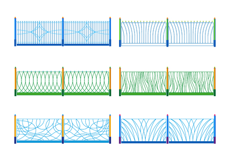 superstructure: Illustration of the different designs of fences  on a white background