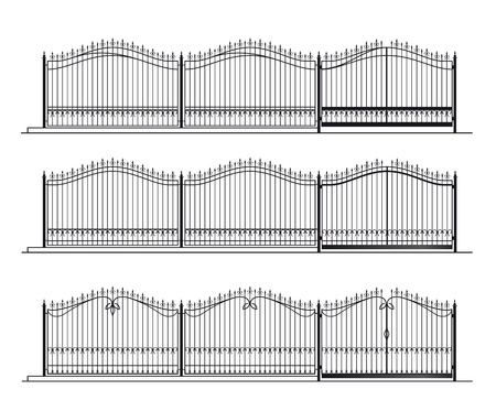 Illustration of the different designs of fences  on a white background