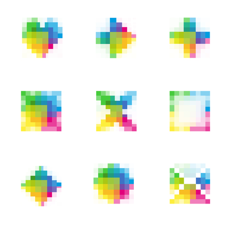toy chest: 9 bit item icons, flat vector symbols. Colorful icons.