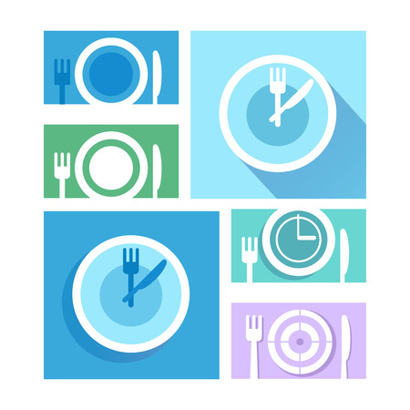 etiquette: Plate dish with forks and knifes icons.  Crosswise cutlery symbol. Dining etiquette. Circle concept web buttons. Vector.Time to eat.