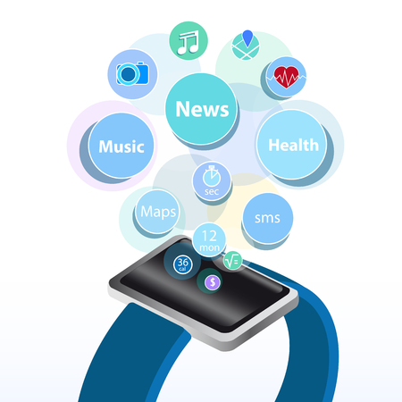 new technology: smart watch new technology electronic device with apps icons flat design vector illustration