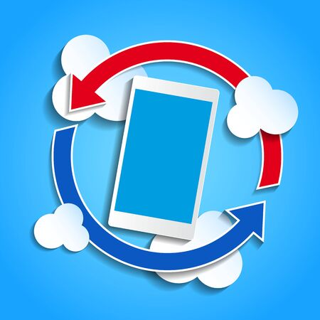 synchronizing: Cloud computing concept. Smartphone synchronizing data with the cloud.