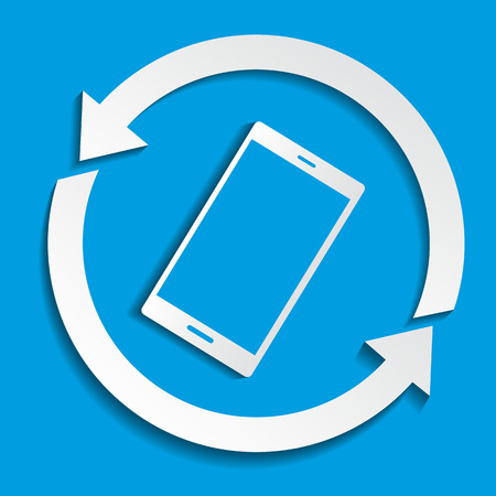sync: Upload data concept. Smartphone synchronizing data with the cloud. Illustration