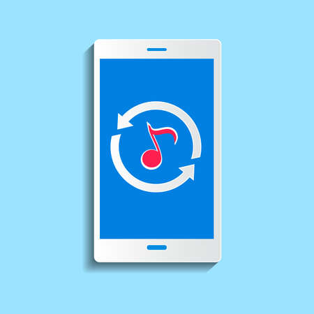 synchronizing: Upload music concept. Smartphone synchronizing data with the cloud.