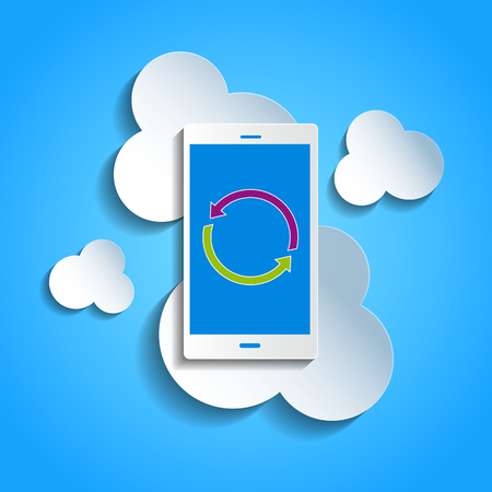 accessing: Upload data concept. Smartphone synchronizing data with the cloud. Illustration