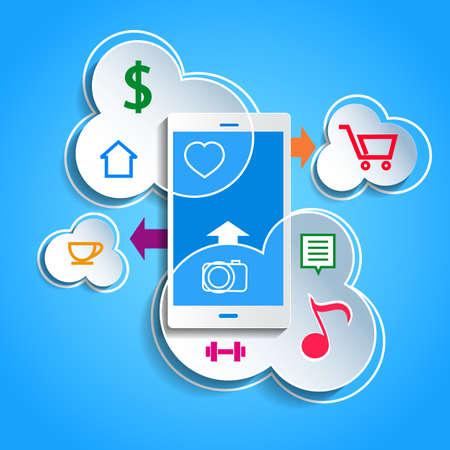 synchronizing: Upload data concept. Smartphone synchronizing data with the cloud. Illustration