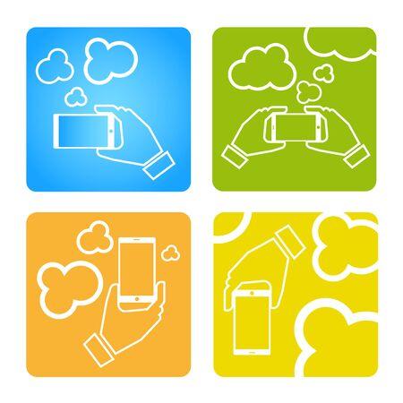 synchronizing: Upload data concept. Upload photo concept. Smart phone synchronizing data with the cloud. Illustration