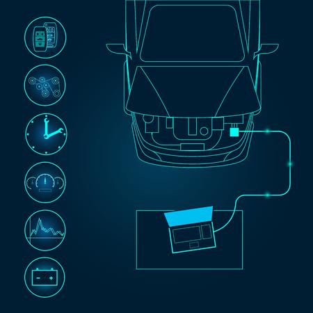 computer repair technician: Automotive diagnostic repair icon. Vector illustration.